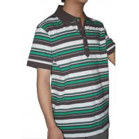 Tranfering Strip Pattern Striped T Shirt Mens , White Green Mens T Shirt With Collar