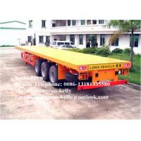 China Tri Axles 40ft container flatbed semi trailer , long flat bed trailers on sale