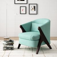 Buy cheap Anchor Green Accent  Arm Chair Library Finsihed In Natural Wood Tone product