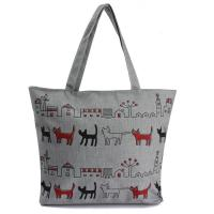 Print Animal Cartoon Womens Canvas Shopper Bag With Shoulder Straps