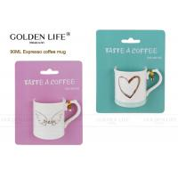 Buy cheap 90ml Capacity Porcelain Coffee Mugs Love Heart Pattern BSCI DISNEY Certificated from wholesalers