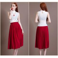 Buy cheap Chic Two Piece White High collar lace ladies Suit Dresses Red tea length skirts product