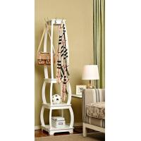 Standing White Wood Display Rack Shelves With Hooks / Wider Room