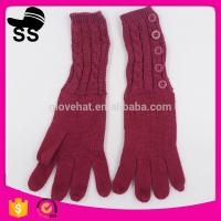 China Yiwu Wholesale Hot-selling Outdoor Buttons 52g Wine Red Women Ladies Girls Winter Knitting Gloves 95%Acrylic 5%Spandex on sale