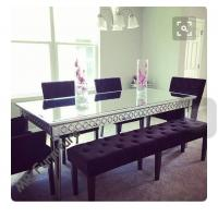 Buy cheap Sophia Silver Glass Dining Table , 160 * 90 * 75cm Mirror Dining Room Table product
