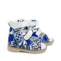 Buy cheap Colorful blue boys buckle strap printing leather sandals orthopedic footwear for  children product