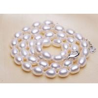 Fake Rice Pearl Statement Wedding Necklace , Glass White Bead Choker Necklaces