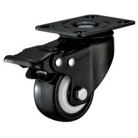Buy cheap Small Furniture PU Caster Wheel With Swivel Plate Total Locking Black Bracket product