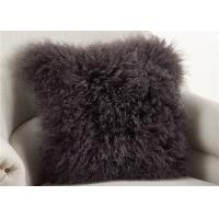 Quality Dark Gray Fuzzy Throw Pillows , Soft Curly Hair Wool Decorative Bed Pillows  for sale