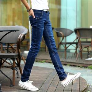 Cheap Tall  Juniors / Womens Slim Straight Leg Jeans Dark Blue Anti - Pilling Fade Proof wholesale