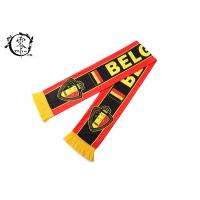 Belgium Custom Winter Soccer Team Scarves , Fleece Printed Football Scarves