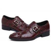 Buy cheap Autumn Leather Monk Strap Dress Shoe , Wine Red Mens Leather Slip On Dress Shoes product