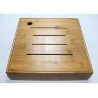 Custom Square Gift Packaging Bamboo Display Box, Wooden Tea Storage Box With 4 Compartments And Lids