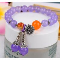 Buy cheap Purple chalcedony bracelets, gemstone beaded bracelets, chalcedony jewelry, gift for her product