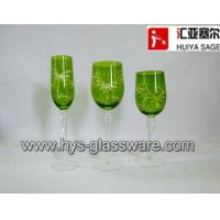 Buy cheap Engraved flute/red wine/white wine glasses, sprayed green 2014 new product