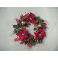 Buy cheap Red Fabric / Plastic Front Door Artificial Decorative Flowers for Christmas Garlands product