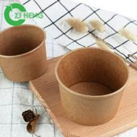 Buy cheap Food grade natural kraft sturdy paper hot food bowl with clear lid from wholesalers