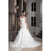 Buy cheap New Designer Strapless Mermaid Organza Romantic Lace Wedding Gowns With Flowers from wholesalers
