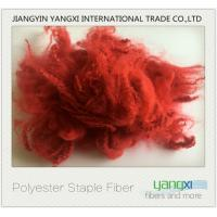 Buy cheap Renewable Polyester Spinning Fiber Red Dyed fiber Easy To Process product