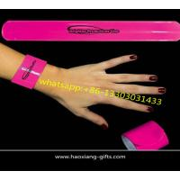 Buy cheap wholesale custom logo silicone pink color promotional reflective slap wristband from wholesalers