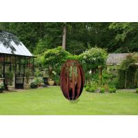 Buy cheap Round Statue Design Abstract Metal Sculpture Rusty Naturally Finish Lawn Decor product