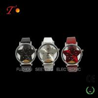 Buy cheap Fashion Leather Strap Quartz Wrist Watch with Czech Stone on Dial For Young Ladies from wholesalers