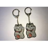 Buy cheap Promotional glittering fortune cat shape keychains custom for top high grade bags packbag decoration product