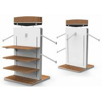 Buy cheap MDF White Gondola Clothing Display Rack With Wooden Shelves Or Bottom Cabinet from wholesalers