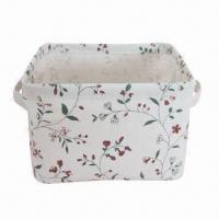 Buy cheap Fabric Storage Basket for Sundries or Food, Rectangle Shape, Made of Canvas product