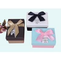 Different Colors Small Cardboard Packing Boxes With Ribbon Bow Lid
