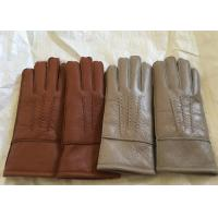 Buy cheap Windproof Men'S Shearling Sheepskin Gloves , Thick Fur Lined Leather Gloves Mittens  product