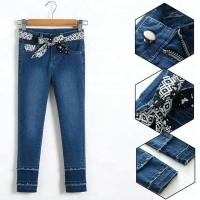 China Custom Kids Denim Clothes Jeans Pant Adjustable Waist Zip Around With Printed Belt on sale