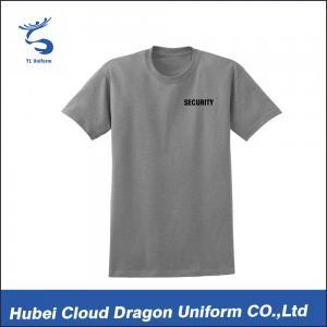 Grey 180gsm Cotton Security Guard T Shirts Short Sleeve Custom Printed Logo