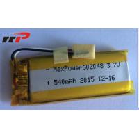 Buy cheap 540mAh 602048 Lithium Polymer Batteries High temperature UL CE IEC product