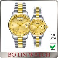 Buy cheap Value Mens 18k Gold Plated Watch , 316L Stainless Steel Quartz Gold Watches For Him And Her Set product