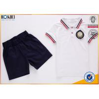 Cheap Custom school uniform polo t shirts with stripe collar and cuff  for boys and girls wholesale