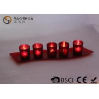 Quality Set Of 5 Red Glass Candle Holder With Glass Plate And LED Tealight for sale