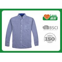 Fast Drying Blue Checkered Shirt Fashion Design 100% Polyester