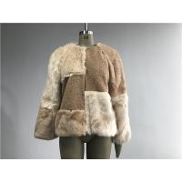 Buy cheap Beige Short Ladies Fake Fur Coats , Faux Fur Tan Teddy Fur Combo Coat product