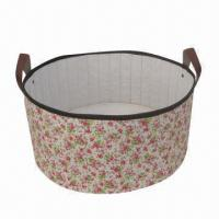 Buy cheap Round Storage Box, Canvas Material, Foldable with Ears, New Item, Various Sizes are Available product