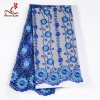 Buy cheap African Cord Blue Embroidered Floral Lace Fabric 127 CM Polyester from wholesalers
