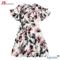 Buy cheap 89D17384 Fashion Round Neck Lotus Leaf Sleeve High Waist Floral Print Linen Dress Women product