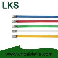 Buy cheap 4.6*150mm 201,304,316 grade epoxy polyester coated Ball-lock stainless steel cable ties product