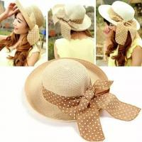 50-62 Cm Wide Brim Floppy Beach Hat , Hand Printing Women's Floppy Straw Sun Hats