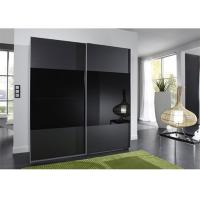 Buy cheap Black Glass Sliding Wardrobe Lacquer High Gloss Painting Wooden Bedroom Furniture 2.3 Meters Height product