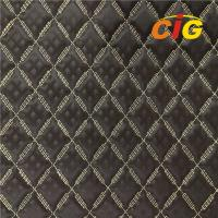 Quality 2019 Embroidery Quilted Stitching PU PVC Synthetic Leather Fabric for Car Seat for sale