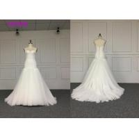 Buy cheap White Elegant Ladies Off Shoulder V Neck Wedding Dress Fully Lined L Size Length from wholesalers