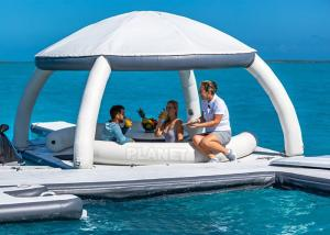 Buy cheap 3.4x3.4m Floating Inflatable Docks Water Park Inflatable Resting Island With Shade Tent product