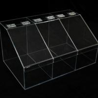 Buy cheap Clear Slatwall Acrylic Candy Display W/ 3 Boxes Perspex Bins with Dividers from wholesalers