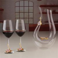 Buy cheap Wholesale U Shape Decanter Enamel Flower Crystal Clear Wine Glass Set for Sale product